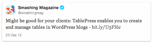 Tweet on 12/23/2012 by @smashingmag
